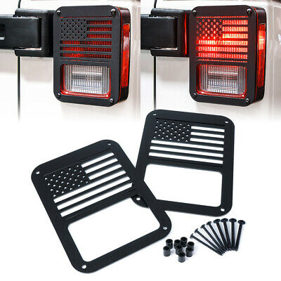 Pair Rear Tail Light Cover Guard U.S. American Flag for 07 - 18 Jeep Wrangler JK