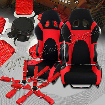 Black/Red TYPE-6 Fully Adjustable Cloth Bucket Racing Seats+5PT Red Seat Belts