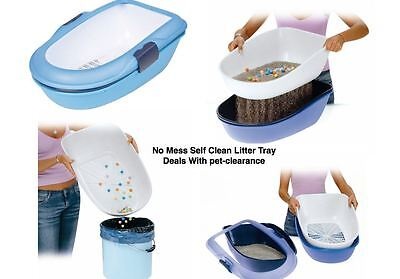 Cat Litter Tray No Mess Self Clean Splits Into 3
