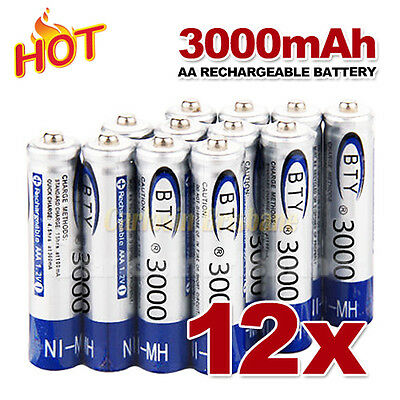 12 pcs AA Rechargeable batteries Bulk Nickel Hydride NI-MH 3000mAh Battery 1.2V