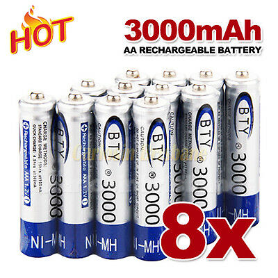 8 pcs AA Rechargeable batteries Bulk Nickel Hydride NI-MH 3000mAh Battery 1.2V