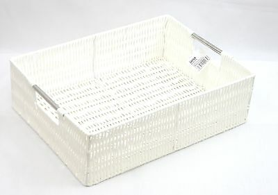 White Large Resin Woven Storage Basket With  Steel handle- PP-9113LWT