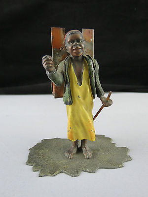 Antique Victorian Blackamoor North African Lead And Tin Figural Match Holder