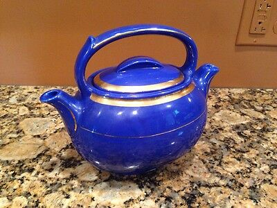 Nice Hall Teamaster Twin Spout Double Chamber Bright Blue Teapot W/ Gold Trim