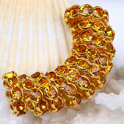 10pcs Golden Crystal Rhinestone Gold Spacer Beads Jewelry Findings 12mm