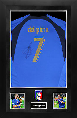 Alessandro Del Piero FRAMED Genuine Hand Signed ITALY 2006 World Cup Shirt