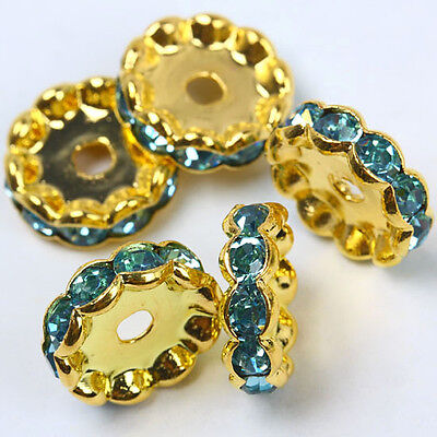 12mm Light Blue Crystal Rhinestone Lace Golden Spacer Beads 10pcs Jewelry DIY