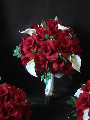 2 Pc Red Roses And White Calla Lily Bridal Bouquet Wedding Flowers
