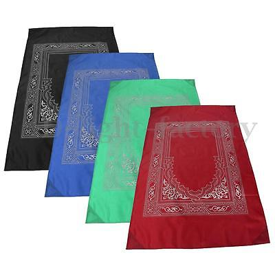 Travel Pocket Prayer Mat Rug With Qibla Kaaba Compass In Pouch Muslim 100X60cm