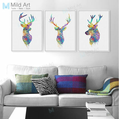 Watercolor Deer Head A4 Poster Prints Canvas Painting Nordic Home Wall Art Decor