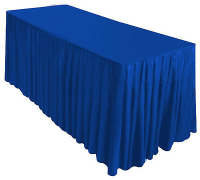 6' Fitted Table Skirt Cover Wedding Banquet w/Top Topper Tablecloth - ROYAL BLUE