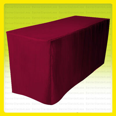 8' Fitted Tablecloth Table Cover Throw Wedding Banquet Trade Show - BURGUNDY RED