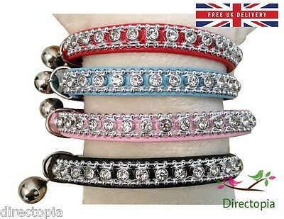 UK Standard Safety Cat Collar Crystal Diamante Rhinestone Safety Elastic & Bell