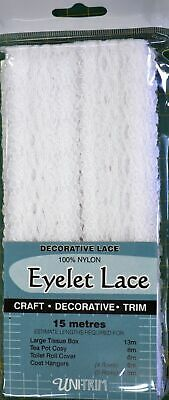 Uni Trim WHITE Eyelet Lace 30mm x 15m, Insertion Lace Knitting Lace, 100% Nylon