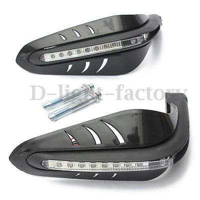 "7/8"" Motorcycle Bike Black Led Turn Signal Hand Guard Brush Bar Protector Cover"