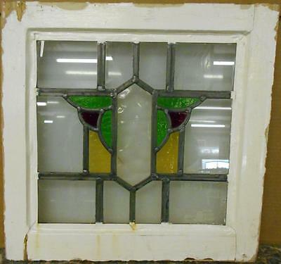 "OLD ENGLISH LEADED STAINED GLASS WINDOW Nice Abstract Design 17.25"" x 16.75"""
