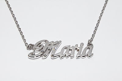 Christmas Silver Jewellery JUSTINE 18ct White Gold Plating Necklace With Name