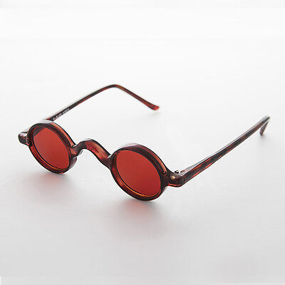 Round Retro Victorian w/ Red Colored Lens Vintage Sunglasses (Brown) NOS-SHIVA
