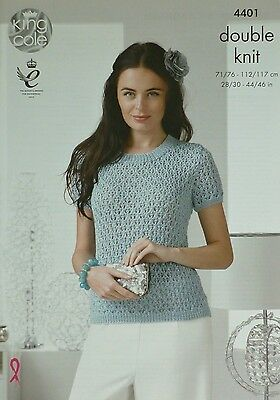 KNITTING PATTERN Ladies Short Sleeve Round Neck Lacy Jumper DK King Cole 4401
