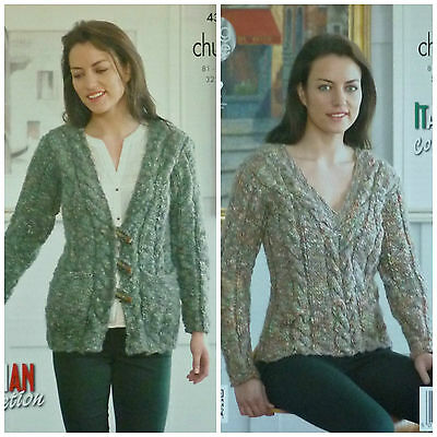KNITTING PATTERN Ladies Long Sleeve V-Neck Cable Jacket & Jumper Chunky 4300