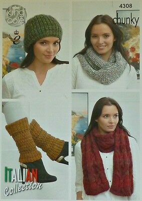 KNITTING PATTERN Ladies Hat, Scarf, Cowl and Leg Warmers Chunky KC 4308
