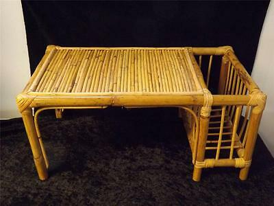 Vintage Bamboo Lap Bed Breakfest Tray Table w Magazine Holder