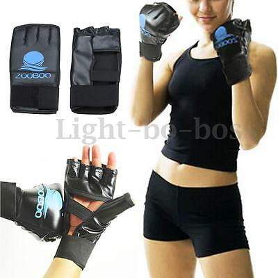 ZOOBOO Pro Leather Boxing MMA Sparring Kick Punch Bag Muay Thai Training Gloves