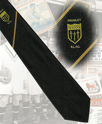 Bramley RLFC players tie circa mid 1990s - 7.5cm RUGBY LEAGUE TIE
