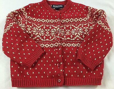 Lands End Kids Size Small (4T) Red & Cream Nordic Holiday Knit Cardigan Sweater
