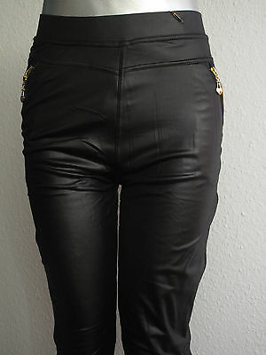 Leggings Thermoleggings Wetlook Lederlook schwarz Winterleggings Reißverschluß