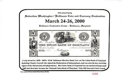 Souvenir Card Elkton 2005 Baltimore Coin Conv BLT19 MD $1.00 F /& M Bank