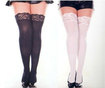 Music Legs 4747 Thigh Highs Opaque Lace Top Plus Size 1X Queen White Black Beige