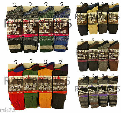 6 Pairs Men's Everyday Socks, Thick Chunky Knit Warm Work Boot Socks, Size 6-11