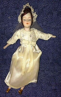 """Bride Bisque and Fabric Doll  9.25"""" Japan"""