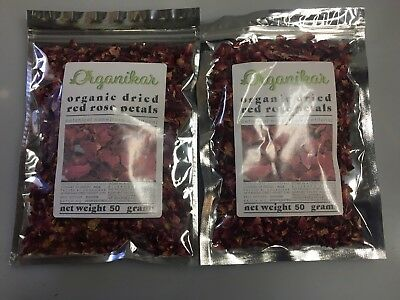 Dried RED Rose Petals NOW ORGANIC - 100g - Rosa centifolia - Free Postage