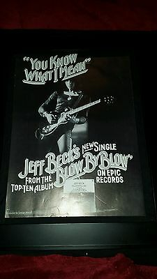 Jeff Beck You Know What I Mean Rare Original Promo Poster Ad Framed!