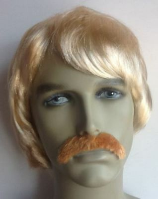 Men's Blonde Short Fancy Dress Wig & Droop Moustache. Uk Next Day Dispatch