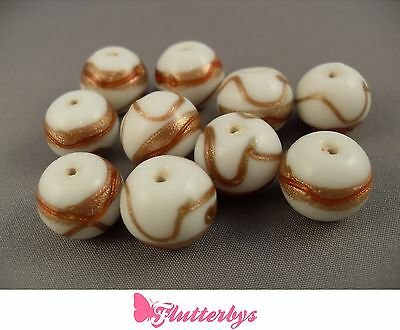 10 White Ceramic Lampwork Bead approx 12mm x 14mm, jewellery making crafting