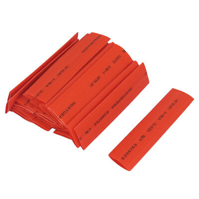 10mm Dia 75mm Long Heat Shrink Tubing Electric Wire Cable Wrap Sleeve Red 26pcs