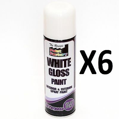 New 6 X White Gloss Spray Can Paint All Purpose Interior & Exterior 250Ml New