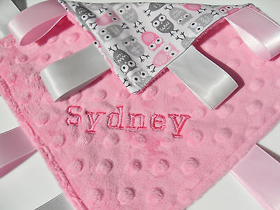 Personalized Taggy Blanket, Pink Grey Owls Personalised baby Girl gift Taggie