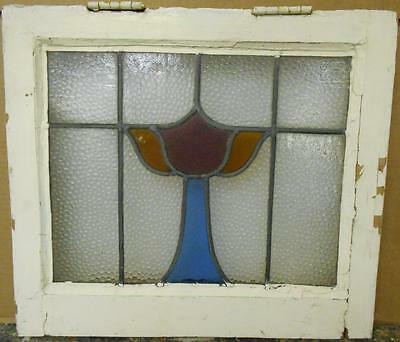 "OLD ENGLISH LEADED STAINED GLASS WINDOW Pretty Chalice Design 18"" x 15.75"""