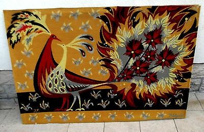 Original  French RED AND YELLOW peacocks woven tapestry by Claude Bleynie