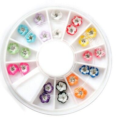 Nail Art 24 pcs 3D Ceramic Flower Glitter Rhinestone Tips Gems Color Decoration