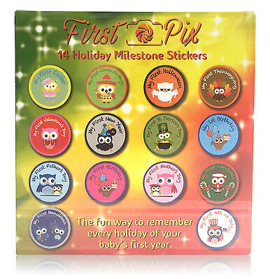 First Pix ~ New! Holiday Owl Belly Stickers For Babies - 14 Milestone Stickers