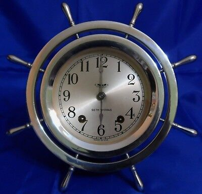 SETH THOMAS ANTIQUE NICKEL PLATED BRASS SHIPS BELL-4 CLOCK Circa: 1935 - 1940