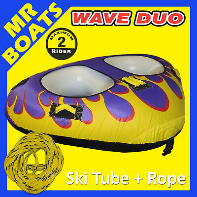 "SKI TUBE 1 - 2 Person WAVE DUO + ROPE Quality LARGE Biscuit 81"" 206 cm FREE POST"