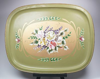 "Vintage LARGE Green Metal Toleware Floral Hand Painted Serving Tray 23"" X 18"""