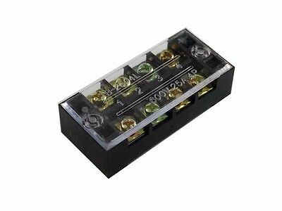 4 Position Screw Barrier Strip Terminal Block w/ Cover 25A/250V