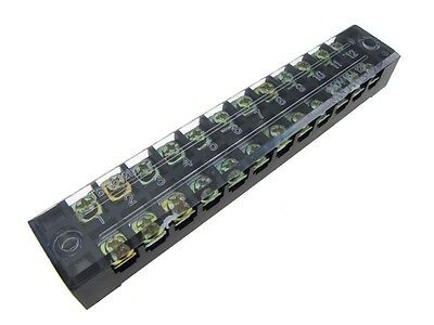 12 Position Screw Barrier Strip Terminal Block w/ Cover 15A